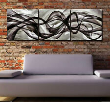 Abstract painting metal canvas modern art original Large contemporary wave