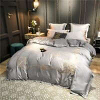Bedding set 4pcs Luxury cotton silky embroidery duvet cover bed sheet pillowcase
