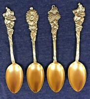 Set Of 4 Sterling Silver Spoons With Gold Wash By CB&H