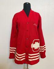 VTG 30s 40s Red Cardigan Sweater Cheer Squad Cheerleader Letterman Wool Mr Ed