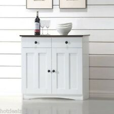 White Modern Buffet Cabinet Sideboard Server Hutch China  Kitchen Wood Cupboard