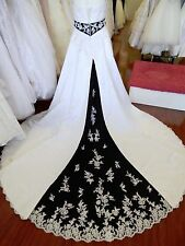 SZ 18 Alfred Angelo 1708 White Black Wedding Gown Dress A-Line Strapless NWT