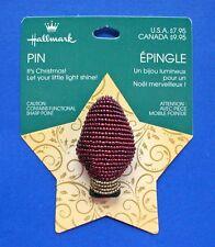 BUY1&GET1@50%~Hallmark PIN Christmas MOC LIGHT BULB Fabric BEADED Vtg Holiday