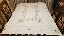 Embroidered & crocheted tablecloth beige/cream with grey stitching 120 x 170 cm