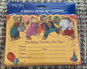 VTG UNOPENED Carlton Cards Children's Birthday Party Invitations 8 Count (KK)