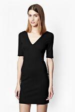 BNWT WOMENS FRENCH CONNECTION LULA STRETCH V NECK BLACK 3/4 SLEEVE DRESS UK 10
