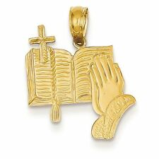14K Yellow Gold Bible with Praying Hands and Cross Charm Pendant MSRP $244