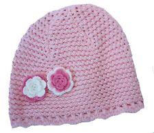 BONNET Baby Girl Pink Flower  - Crochet Knit Cotton Beanie Hat FREE POSTAGE