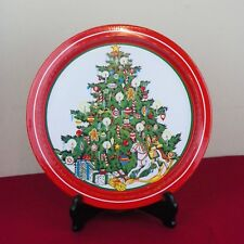 "1986 SNP Chicago Metal Tin Christmas Tree Round Serving Tray 13"" Toys Gifts"