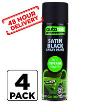 4 x AUTOTEK SATIN BLACK PAINT SPRAY AEROSOL 500ml high coverage 48 hour Delivery