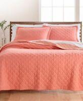 Martha Stawart Full Queen Quilt Coverlet Bedspread Pink Linen Cotton Blend $200