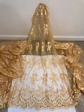 """GOLD EMBROIDERY SEQUIN MESH LACE FABRIC 50"""" WiIDE 1 YARD"""