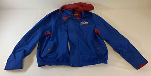 vintage AJ FOYT CONSECO RACING blue pit crew racing jacket w/hood ~ size XL/XG