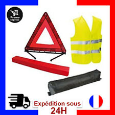 Kit Gilet Jaune Triangle Signalisation Securite Route Accident Norme CE