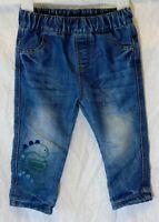 Baby Boys George Blue Denim Cotton Lined Dinosaur Jeans Age 12-18 Months