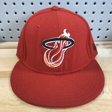 Miami Heat NBA Basketball New Era 59FIFTY Red Fitted Sz 7-3/8 HWC Hat Cap
