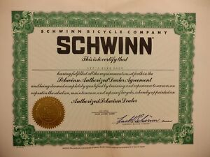"Vintage Original - ""Schwinn Authorized Dealer Agreement"" Certificate"