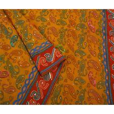 Sanskriti Vintage Saree Pure Georgette Silk Hand Beaded Craft Fabric Kantha Cult