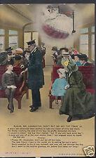 Bamforth Postcard - Please, Mr Conductor, Don't Put Me Off The Train  W702