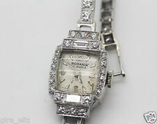 GORGEOUS VINTAGE RODANIA DIAMOND WATCH PLATINUM & 14K WHITE GOLD