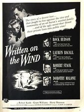 1956 Written On The Wind Movie Promo Release Rock Hudson Lauren Bacall Photo Ad