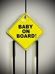"""Baby On Board ! Sign. Yellow And Black. 5""""x5"""". HD Quality. New! Pop. Classic"""