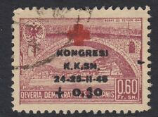 ALBANIA :1946 Albanian Red Cross Congress overprint 60q+30q  SG 455 fine used