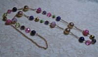 VTG PINK & PURPLE LUCITE & GLASS BEADED STATION LONG GOLD TONE CHAIN NECKLACE