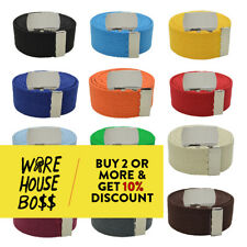 "PLAIN ADJUSTABLE BELT 56"" ACTIVE CANVAS WEB BELT PLAIN BUCKLE REMOVABLE BELTS"
