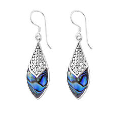 DESIGNER Abalone Paua Shell Dangle Hook Earrings in 925 Steling Silver #94