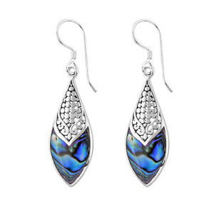 DESIGNER Abalone Paua Shell Dangle Hook Earrings in 925 Sterling Silver