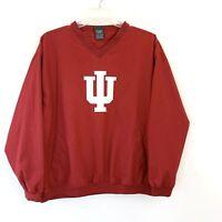 Vintage Indiana Hoosiers Windbreaker V Neck Pro Edge Men's Red Pullover Size L