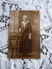 Rppc 1924 Elderly Woman Standing by Chair near Window/B&W Postcard