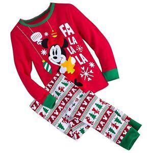Disney Pajama PJ Set Girls Minnie Mouse Family Christmas Holiday Xmas Size 2 NWT