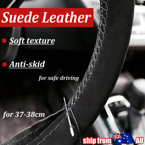 DIY Car Steering Wheel Cover Suede Leather Non-slip Soft 37-38cm Universal