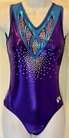 DREAMLIGHT GK TANK LADIES MEDIUM BLUE PURPLE FOIL SEQUINZ GYMNASTICS LEOTARD AM