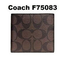 Authentic Coach F75083 Double Billfold Wallet Signature Charcoal Black