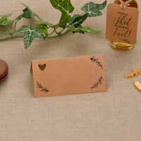 Wedding Table Place Cards - Pack of 25 x Hearts & Krafts  Brown Kraft Card
