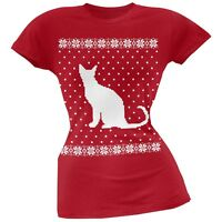 Big Cat Ugly Christmas Sweater Red Soft Juniors T-Shirt