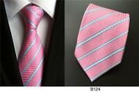 Pink and Blue Stripe Patterned Handmade 100% Silk Tie