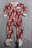 Burt's Bees Baby Unisex Tree Print Footed Pajama SV3 Red Size 6-9M NWT