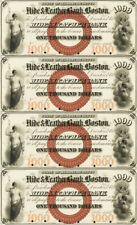 $1000 Hide & Leather Bank Obsolete Currency Sheet REPRODUCTION Nice Vignettes
