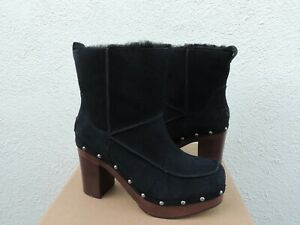 UGG BLACK KOURI SUEDE/ SHEEPSKIN CLOG BOOTS, WOMEN US 7/ EUR 38 ~ NIB