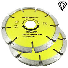 "Set Of 2 Diamond Mortar Masonry Joint Raking Disc 4 1/2"" 115x22mm Angle Grinder"