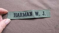 """ HARMAN W.J. ""    MILITARY NAME TAG KHAKI & BLACK"