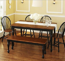 Kitchen Dining Set Farmhouse Table Bench 4 Windsor Chairs Black & Brown 6 piece