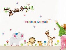 Jungle Animals Monkey Tree Wall Sticker Vinyl Decal Kids Nursery Room Decor Art
