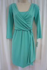 Suzi Chin For Maggie Boutique Petite Dress Sz 2P Reef Green Faux Wrap  Business