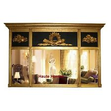 "New Horchow French Large 65"" Ornate Royal Black / Gold Gilded Wall Buffet Mirror"