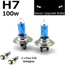 H7 100w SUPER WHITE XENON (499) 12v DIPPED HID Headlight Bulbs +T10 501 LED 5SMD